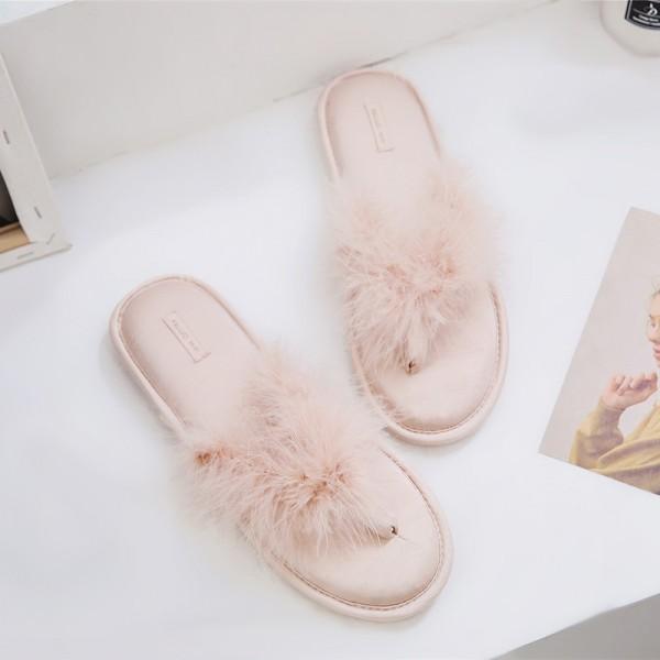 Womens Flip Flops Fluffy Memory Foam Slippers for Ladies