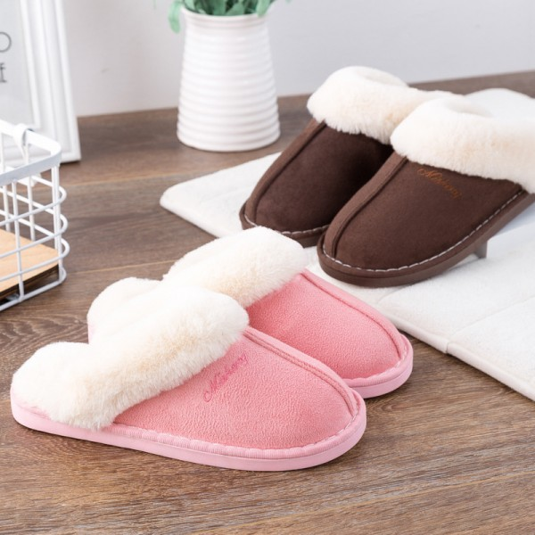 Womens Fluffy Slipper Warm Plush Suede House Scuff Slippers