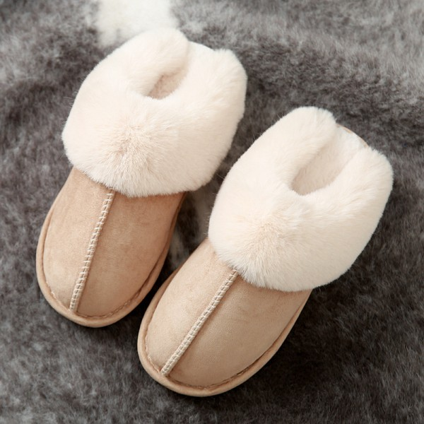 Womens Suede Slippers Soft Plush Warm Fuzzy House Scuffs
