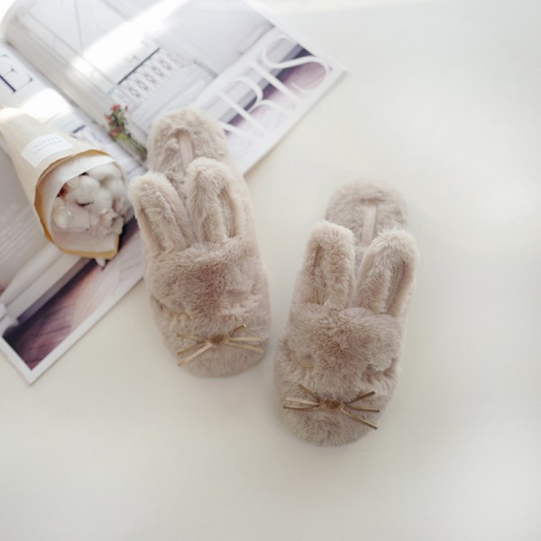 Cute Bunny Slippers for Women Fuzzy House Fur Slip-Ons
