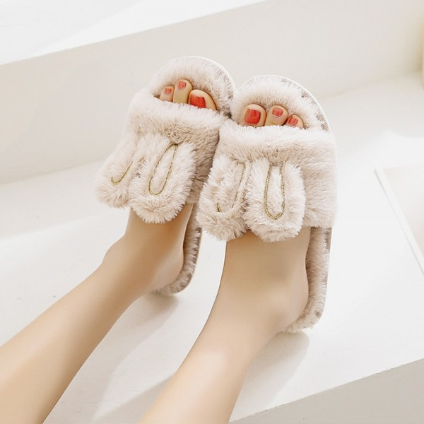 Cute Womens Bunny Slippers Open Toe Fuzzy House Slippers for Girls