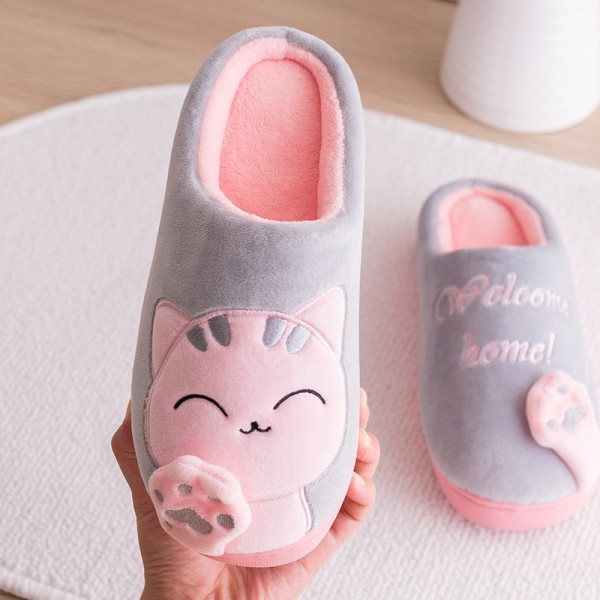 Cute Womens Cat Slippers Pink House Hoodback Scuffs Slippers