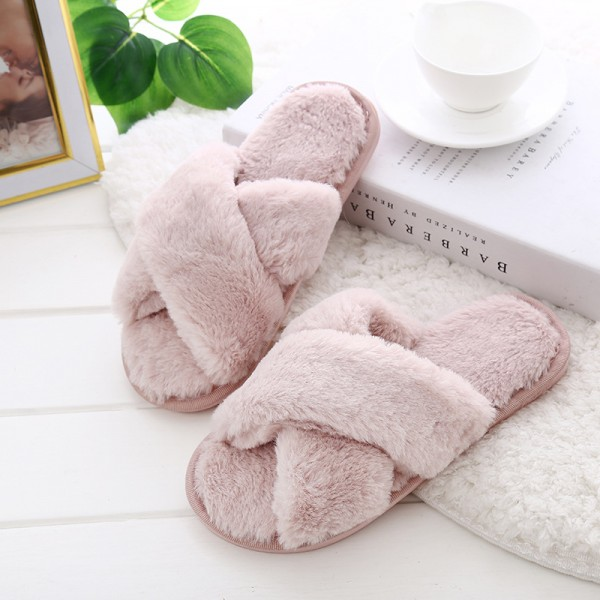 Womens Fuzzy Slippers Cross Band Ladies Slippers