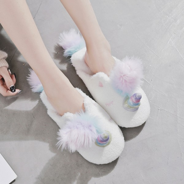 Womens Unicorn Slippers Pom Pom Fuzzy House Slides