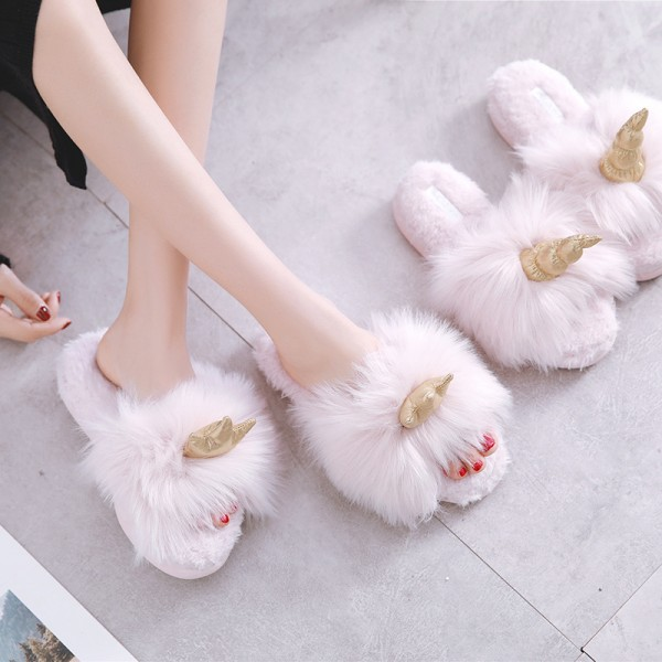 Womens Pink Unicorn Slippers Open Toe Plush Fuzzy Ladies Slides