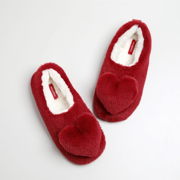 Cozy Women's Red Slippers Ballerina Slippers with Heart Embellishment