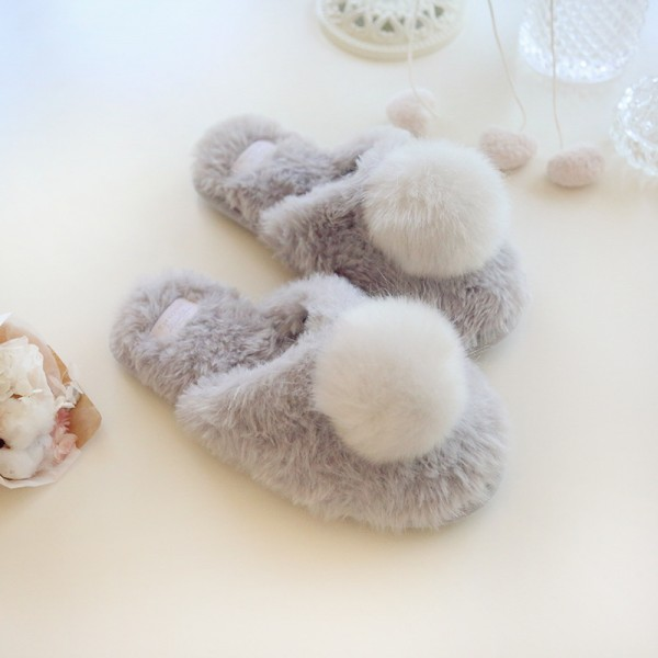 Gray Fuzzy Womens Scuffs Faux Cony Hair Pom Pom House Slippers for Ladies