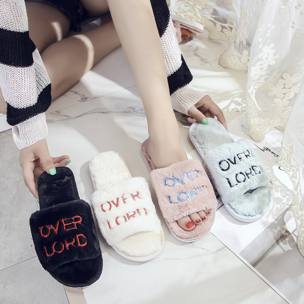 Fuzzy Womens Slippers Embroidered Letters Slides for Ladies