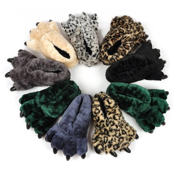 Fuzzy Leopard Bearpaw Slippers for Women Animal Slippers