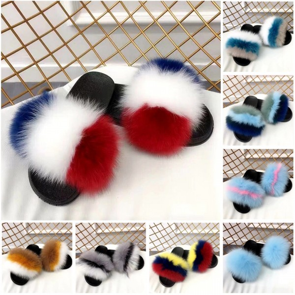 Women's Fox Fur Slides Colorful Fuzzy Outdoor Slippers