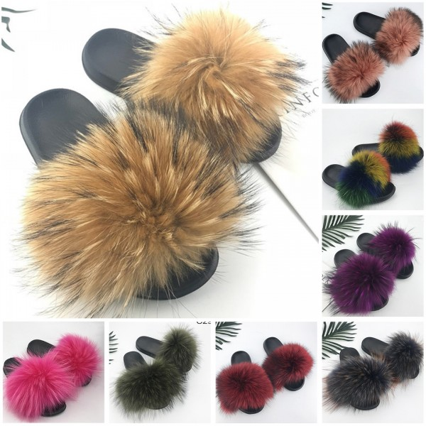 Women's Fox Fur Slides Furry Open Toe Outdoor Shoes