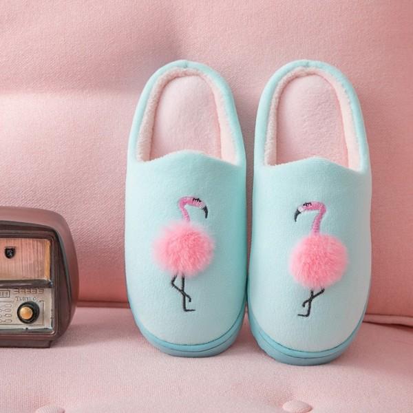 Women's Flamingo Slippers Pink Pom Pom Ladies House Scuffette Slippers