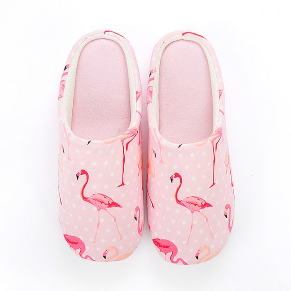 Flamingo Print Slippers for Girls Pink Memory Foam Scuff Slippers