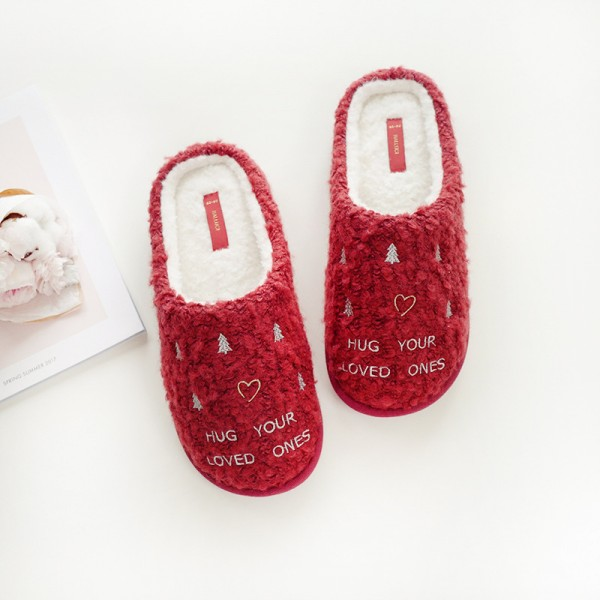 Christmas Women's Red Slippers Embroidered Letters Scuff Slippers