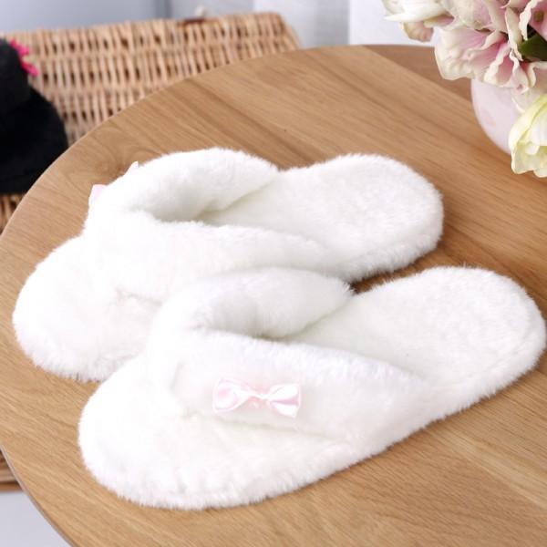 Fuzzy Womens Flip Flops Fleece Bedroom Slippers with Bow