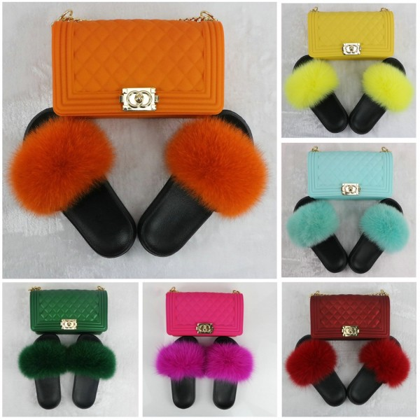 Hot Pink Fur Slides with Matching Color Chain Purses