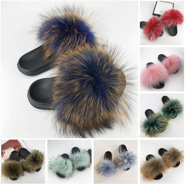 Chic Fox Fur Slides Navy Blue Fluffy Summer Fur Sandals