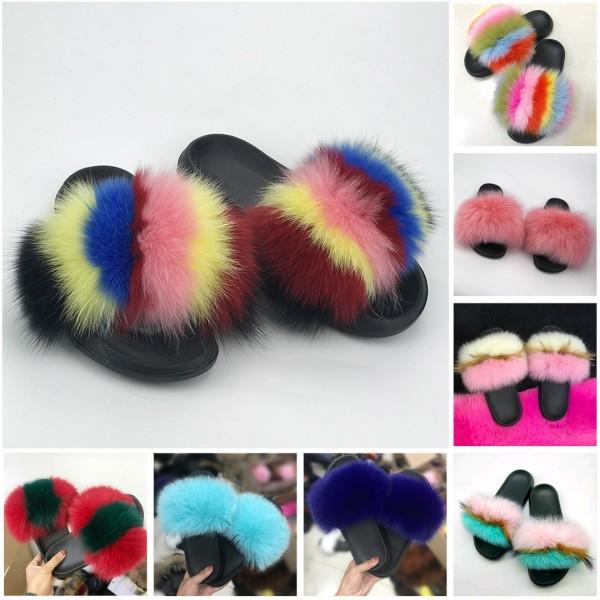 Rainbow Fox Fur Slides Stripes Chic Pink Fur Sandals