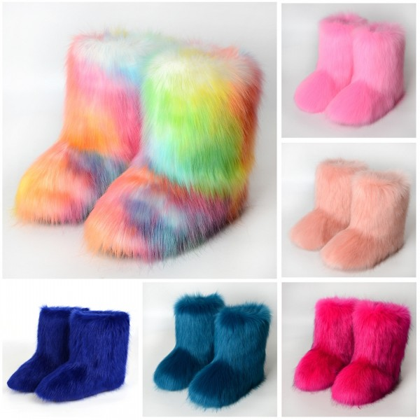 Winter Faux Fur Boots Women's Fluffy Mid-Calf Yeti Boots