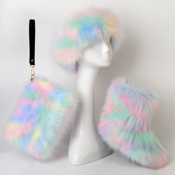Pastel Fluffy Faux Fur Boots Fur Headband Fur Clutch Bag Set