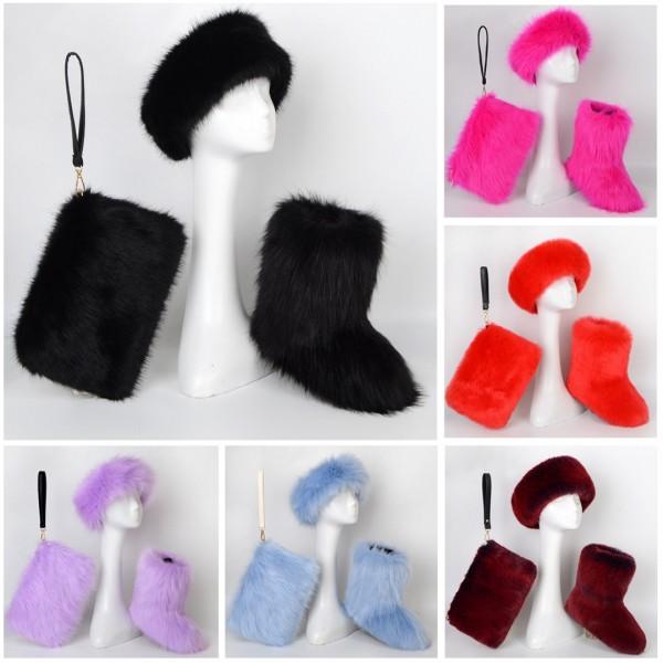 Amazing Solid Color Faux Fur Boots Headband Bag 3 Items Set