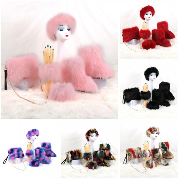 Fluffy Faux Fur Boots with Matching Color Headband Cuffs Shoulder Bag Set