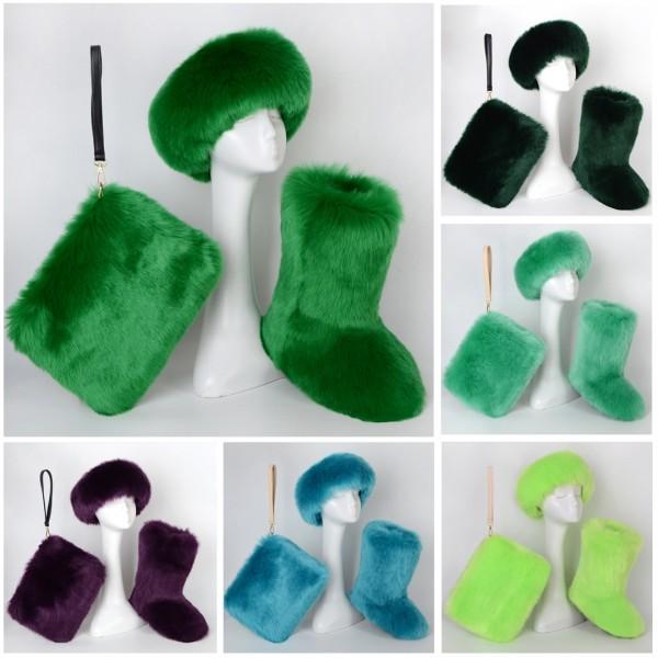 Plain Fluffy Faux Fur Boots Fur Headband Fur Wristlet Bag 3 Items Set