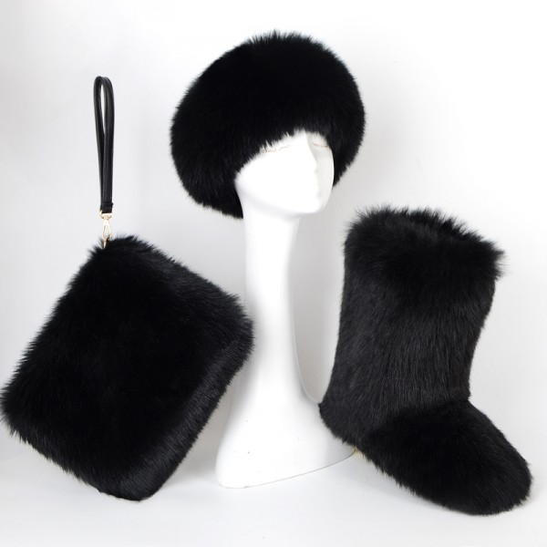 Black Fluffy Faux Fur Boots with Matching Fur Headband and Purse Set