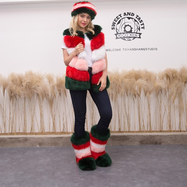 Women's Fluffy Faux Fur Vest Boots Headband 3 Items Set
