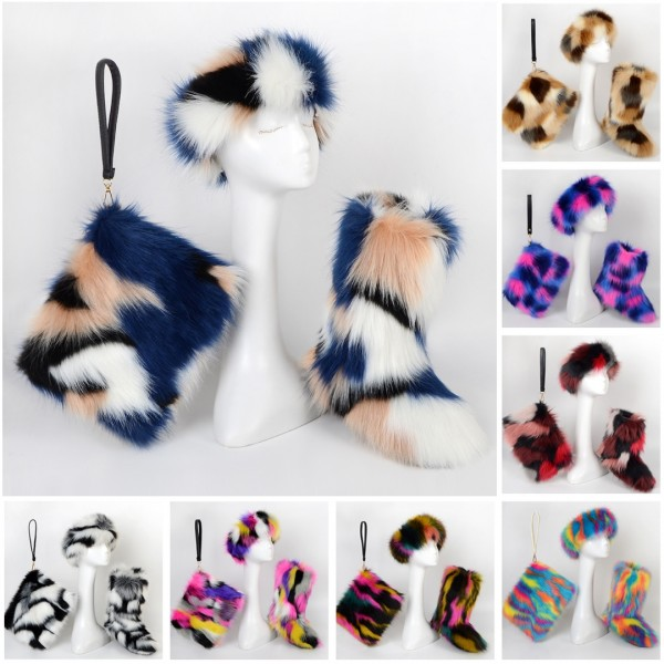 Women Multicolor Faux Fur Boots with Matching Fur Headband and Bag Set