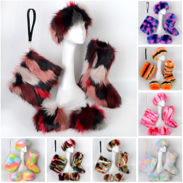 Fashion Multicolor Faux Fur Boots Headband Wristlet Bag Cuffs 4 Items Set