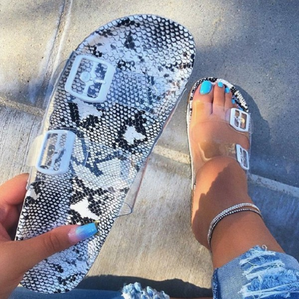 Chic Snakeskin Print Sandals Transparent Summer Flat Slides