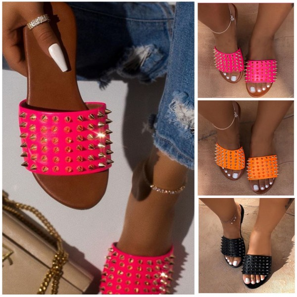 Chic Rivet Studded Slides Hot Pink Women's Flat Sandals
