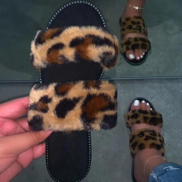 Chic Leopard Fur Slides Flat Women's Slide Sandals