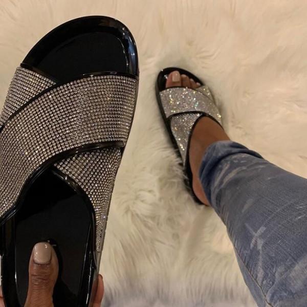 Shiny Cross Band Slide Sandals Rhinestones Summer Slippers