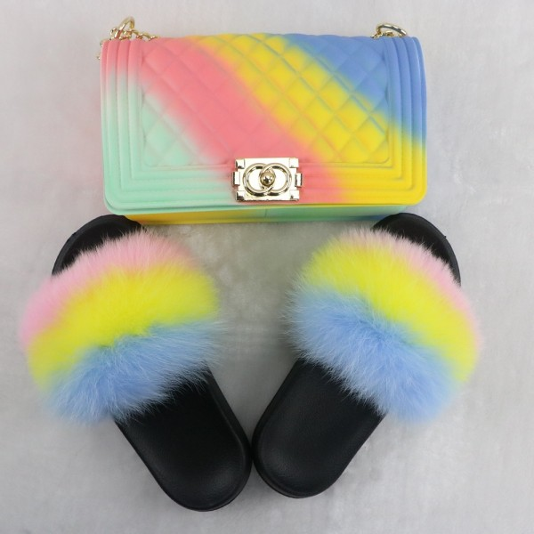 Macaron Color Fur Slides with Matching Shoulder Bags