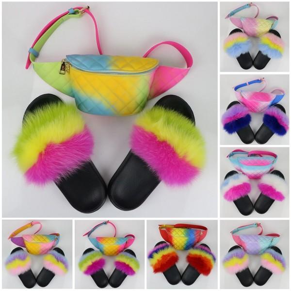 Rainbow Color Fur Slides with Matching Waist Bag