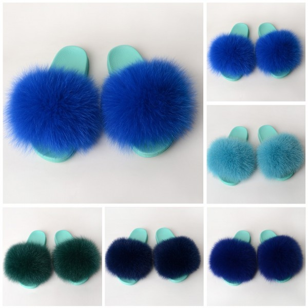 Fluffy Fur Slides For Ladies Blue Furry Slippers