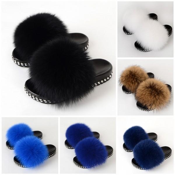 Rivet Decorated Fur Slides Brown Furry Slippers