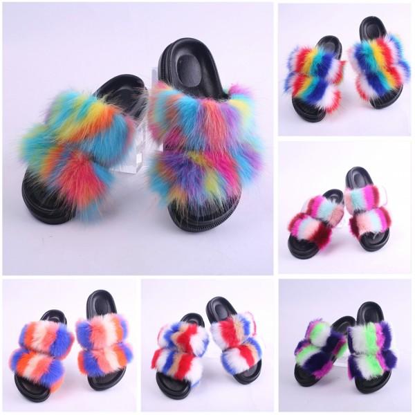 Rainbow Two Straps Fur Slides Faux Fur Sandals