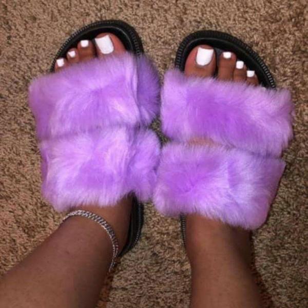 Chic Double Strap Fur Slides Solid Color Faux Fur Sandals