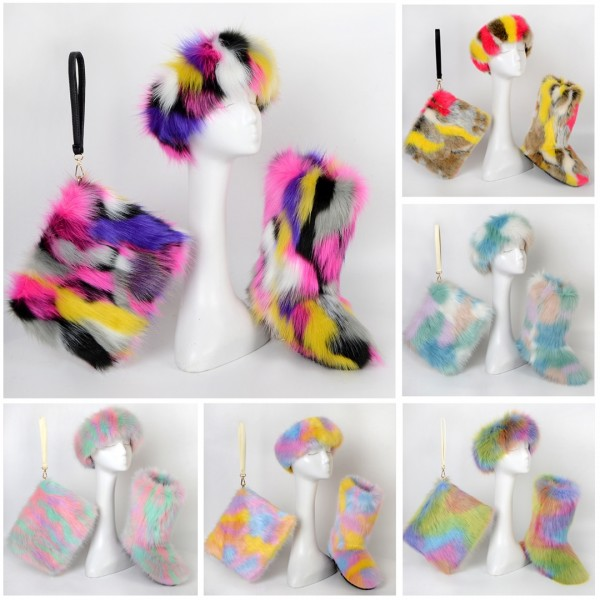 Colorful Winter Faux Fur Boots with Matching Fur Headband and Wristlet Bag Set