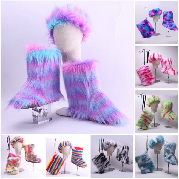 Winter Faux Fur Boots with Matching Fur Headband and Purse Set