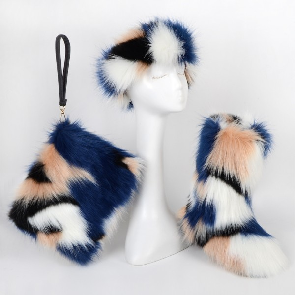 Fluffy Faux Fur Boots with Matching Fur Headband and Bag Set