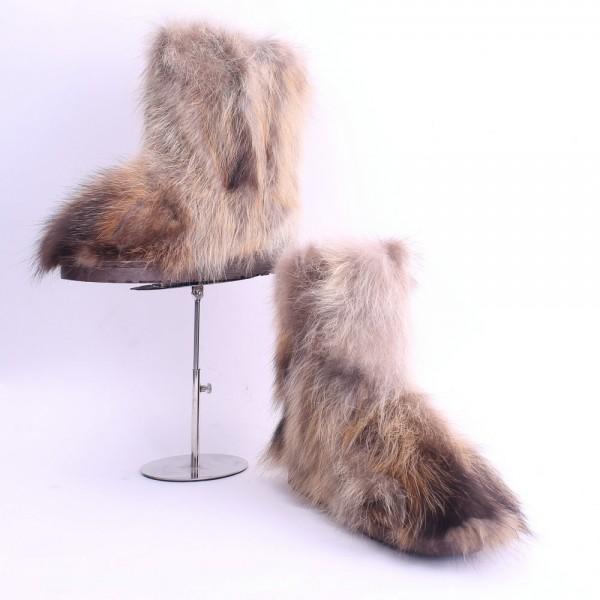 Fluffy Fox Fur Boots Brown Women's Short Winter Booties