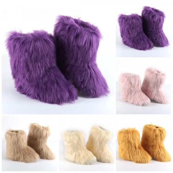 Purple Faux Fur Boots Women's Fluffy Short Winter Boots