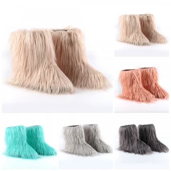 Solid Color Faux Fur Boots Women's Mid-Calf Winter Boots