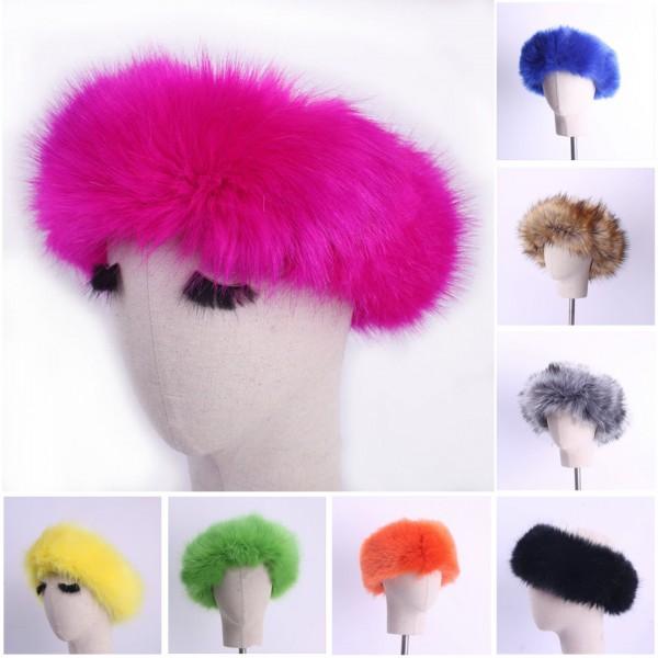 Women's Faux Fur Headbands Colorful Fuzzy Winter Earwarmer