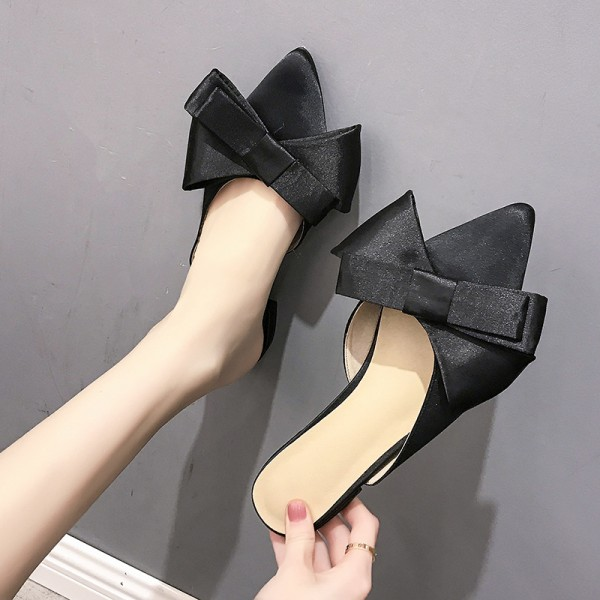 Chic Women's Pointed Toe Mules Black Silk Mules Shoes with Bow
