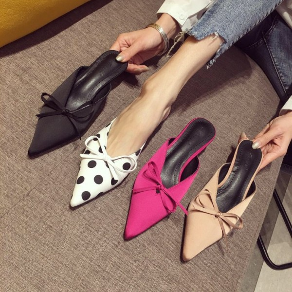 Fashion Womens Heeled Mules Polka Dot Bow Ladies Mules Shoes